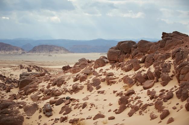 Vallée Dans Le Désert Du Sinaï Avec Des Dunes De Sable Et Des Montagnes Photo Premium