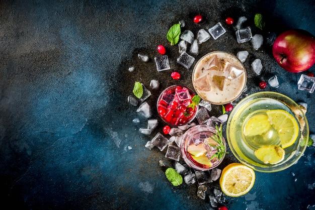 Variété de cocktails glacés automne hiver Photo Premium