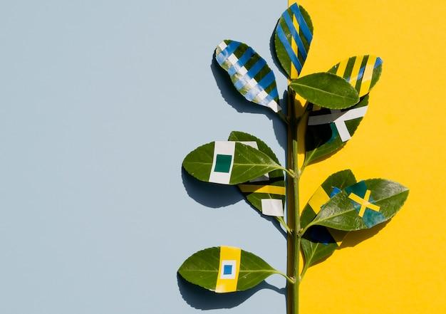 Variété de dessins de peinture de ficus feuilles fond contrasté Photo gratuit