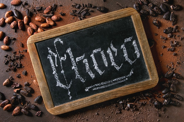 Variété de fèves de cacao Photo Premium