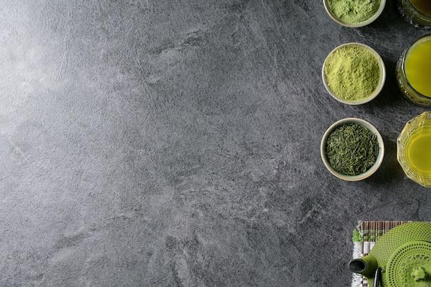 Variété de thé de matcha Photo Premium