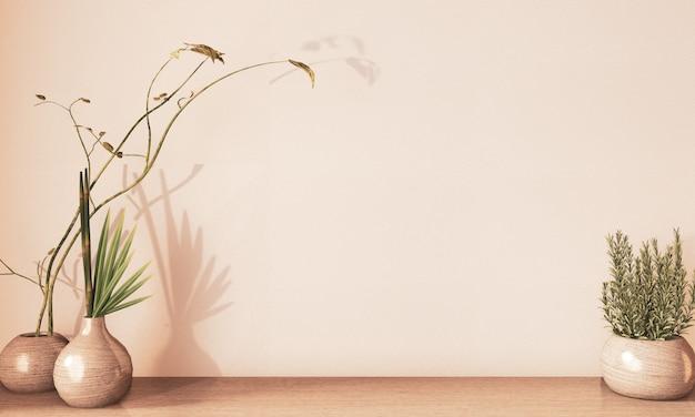 Vase Décoartion En Bois Sur Plancher En Bois, Rendu De Terre Ton.3d Photo Premium