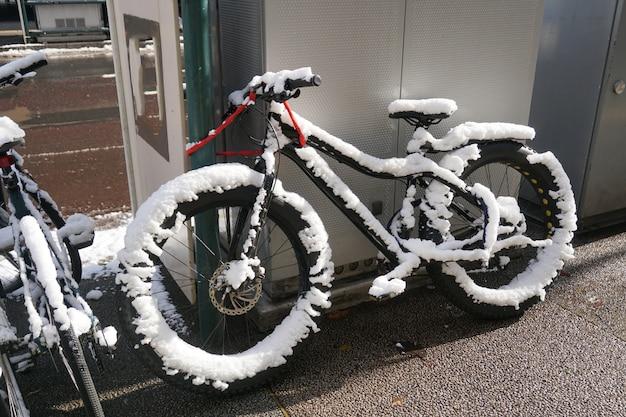 Vélo gelé pendant la nuit Photo Premium