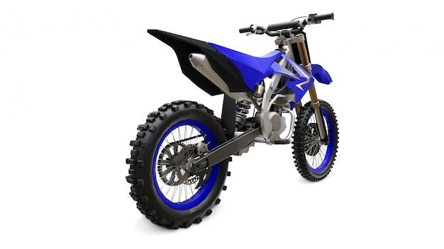 Vélo de sport bleu et noir pour le cross-country sur blanc Photo Premium