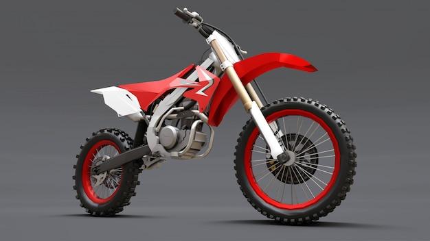 Vélo de sport rouge et blanc pour le cross-country sur gris Photo Premium