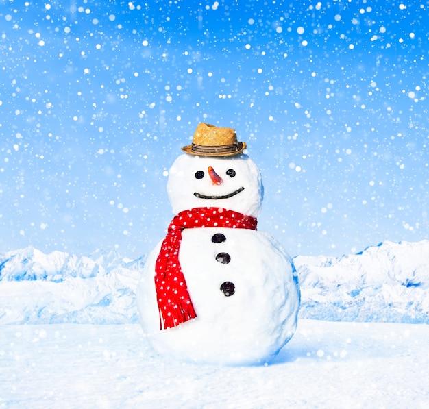 Véritable bonhomme de neige à l'extérieur dans un paysage blanc. Photo gratuit