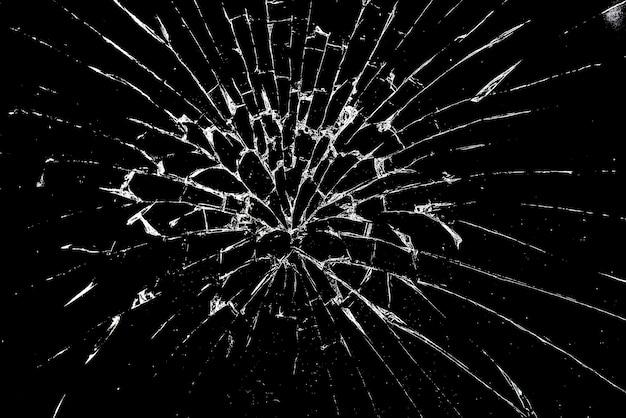Verre Brisé, Verre Brisé Sur Fond Noir Comme Arrière-plan Photo Premium