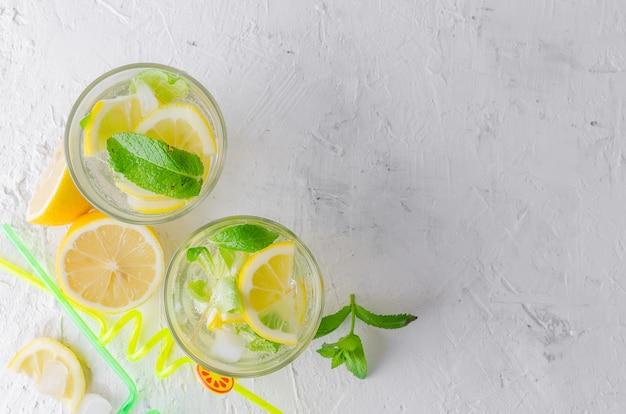 Verre de mojito froid, citron slised juteux et menthe Photo Premium