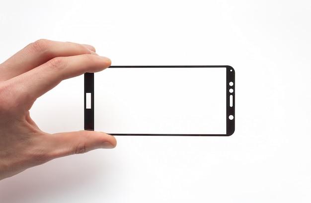 Verre De Sécurité Pour Smartphone Dans La Main D'un Homme Sur Fond Blanc Photo Premium