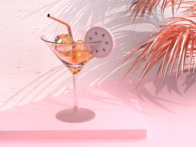 Verre verre thé citron abstrait scène rose rendu 3d Photo Premium