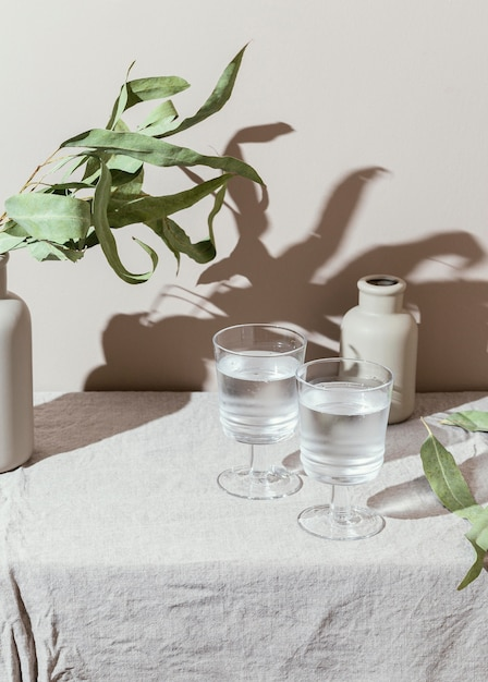 Verres D'eau Avec Ombre Photo gratuit