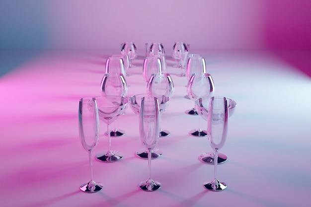 Verres D'illustration 3d Pour Champagne, Whisky, Cognac, Martini, Petits Verres Sur Fond Rose Isolé Photo Premium
