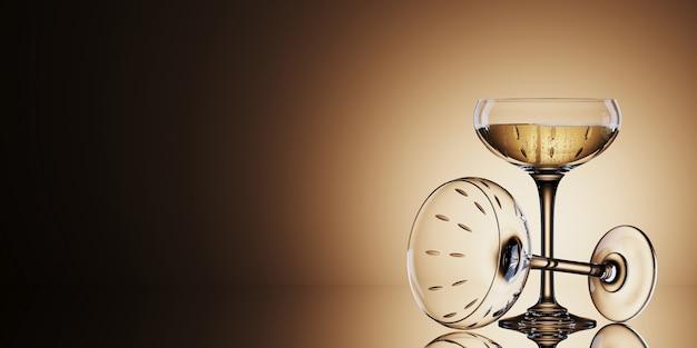 Verres à Vin Blanc Sur Fond D'or. Illustration De Rendu 3d. Photo Premium
