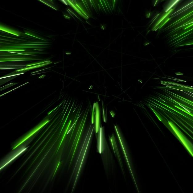 Vert rayons lumineux coulant fond illustration 3d Photo gratuit