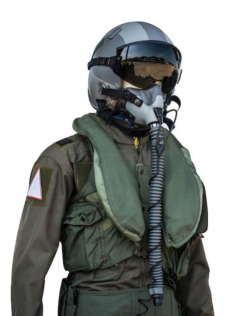 Vêtements pour les pilotes ou les pilotes costume sur fond blanc Photo Premium