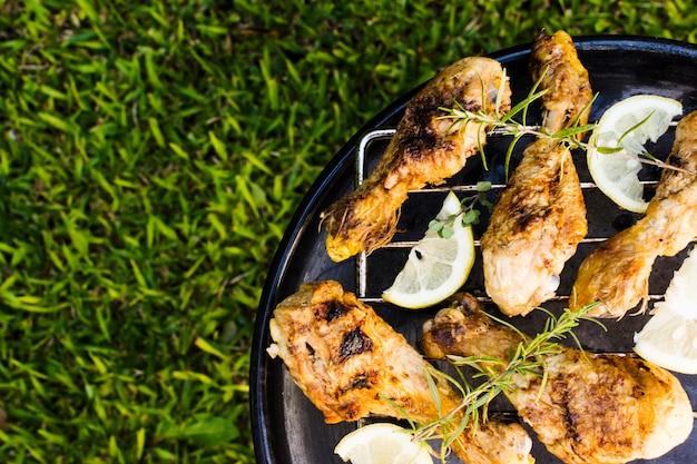 Viande grillée au romarin et citron en pique-nique Photo gratuit