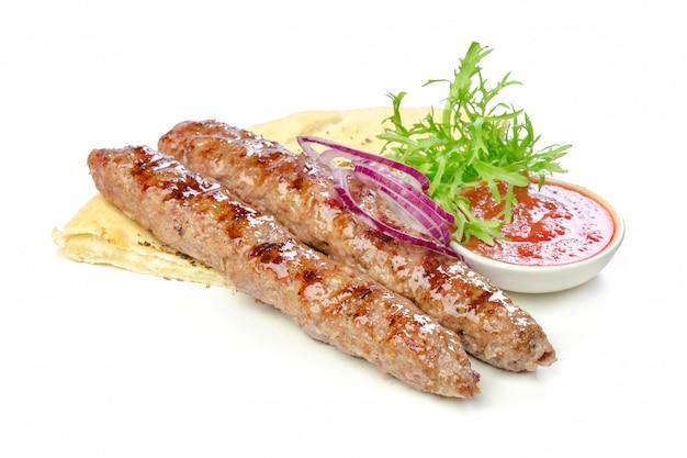 Viande rôtie isolée Photo Premium