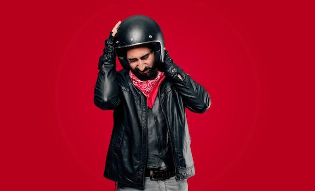Victime d'un accident de motard Photo Premium