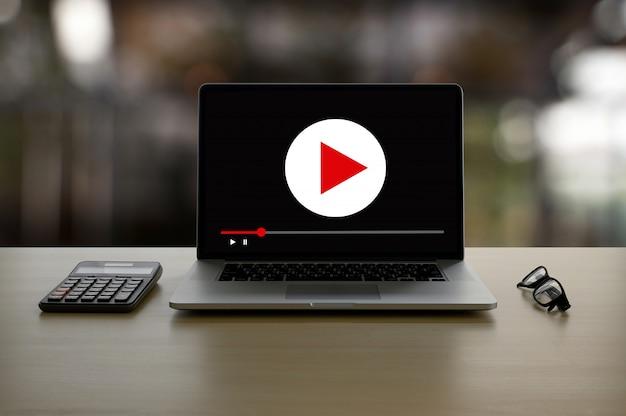 Video marketing audio vidéo, marché canaux interactifs, business media innovation technologique concept de technologie marketing Photo Premium