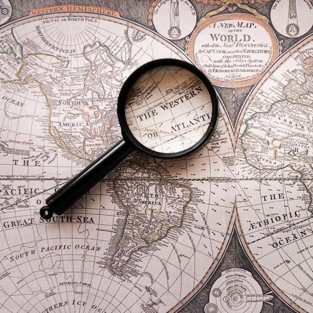 La vieille carte du monde occidentale ou atlantique Photo gratuit