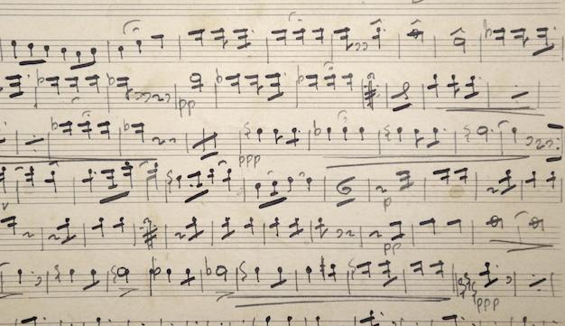 Vieille musique ancienne partition avec papier jauni Photo Premium
