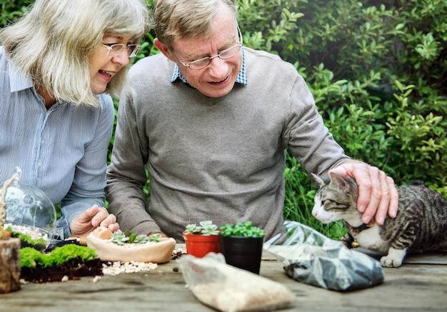 Vieux couple jouant avec un chat à l'extérieur Photo Premium