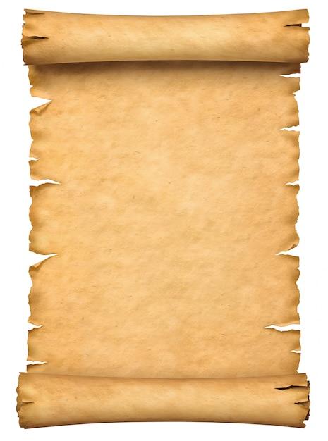 Vieux manuscrit de papier ou de papyrus défiler verticalement orienté isolé sur fond blanc. Photo Premium