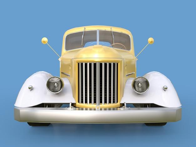 Vieux pickup restauré. pick-up dans le style de hot rod voiture dorée blanche sur fond bleu. Photo Premium