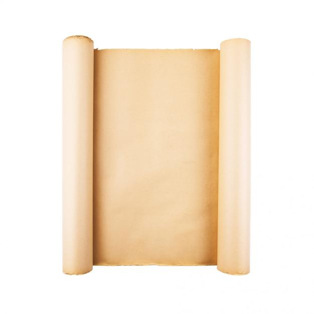 Vieux Rouleau De Papier Stressé Sur Fond Blanc Isolé. Vertical, Fond Carré, Espace Vide, Espace Pour Le Texte, Copie, Lettrage, Carte. Photo Premium