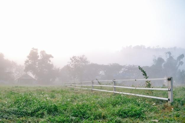 Village entre montagne et brouillard Photo Premium