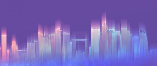 Ville colorée futuriste, violet néon Photo Premium