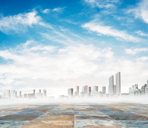 Ville sur un jour de brouillard Photo gratuit
