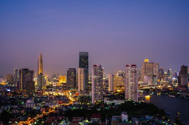 Ville De Nuit Bangkok En Thaïlande. Photo Premium