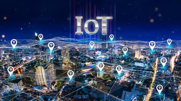 Villes du futur avec graphique montrant le concept d'internet des objets. Photo Premium