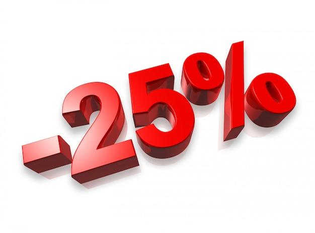 Vingt-cinq pour cent du nombre 3d isolé sur blanc - 25% Photo Premium