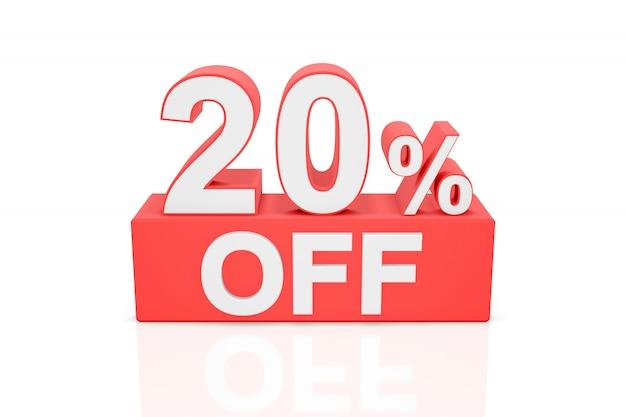 Vingt pour cent de réduction. bannière de vente. rendu 3d. Photo Premium