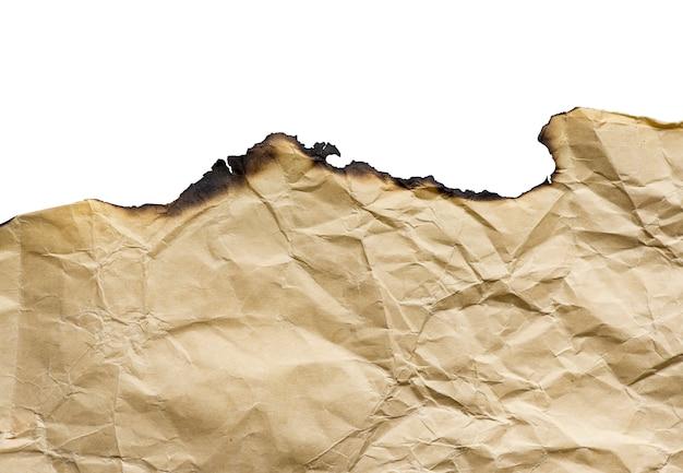 Vintage brun papier brûlé, détails isolés, grand fond, texture Photo Premium