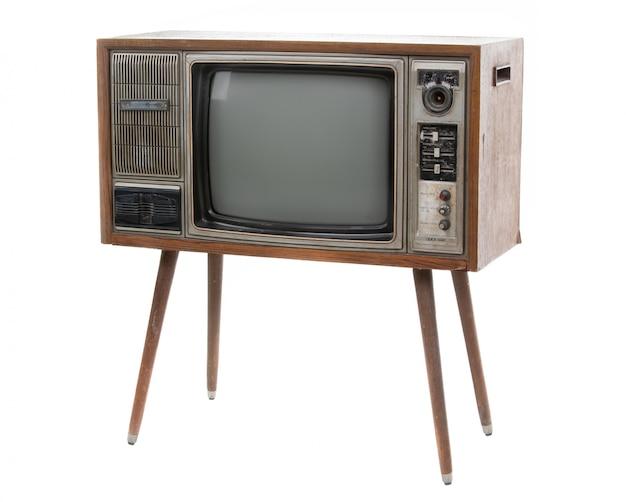 Vintage tv isolée sur blanc Photo Premium