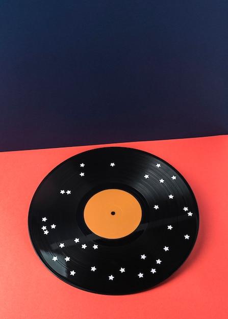 Vinyle Noir Avec étoiles Blanches Photo Premium