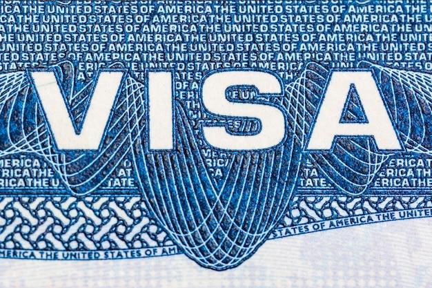 Visa Document Logo Gros Plan Des états-unis D'amérique Photo Premium