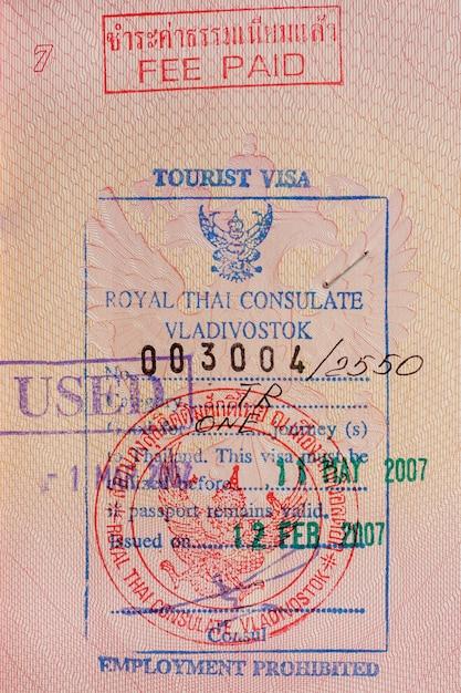 Visa de tourisme en arrière-plan. Photo Premium