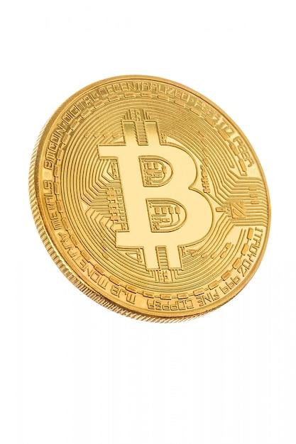 Visage de la crypto monnaie doré bitcoin sur blanc Photo Premium
