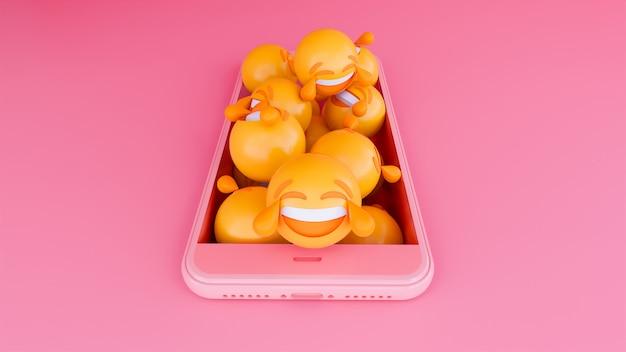 Visage emoji 3d motion sur téléphone intelligent Photo Premium