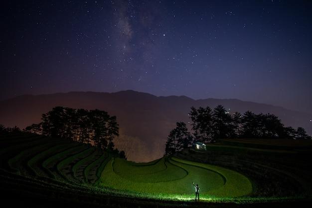 Une voie lactée et fond de champ de riz vert Photo Premium