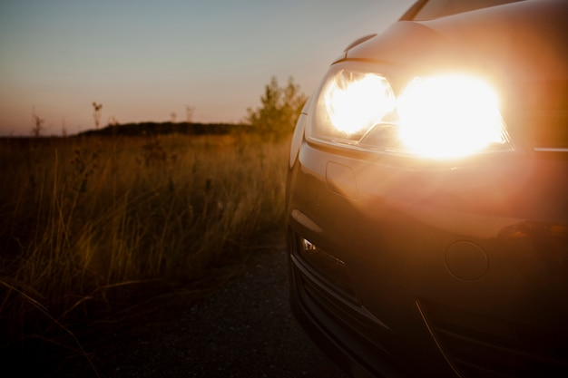 Voiture à cheval sur la route avec phares allumés Photo gratuit