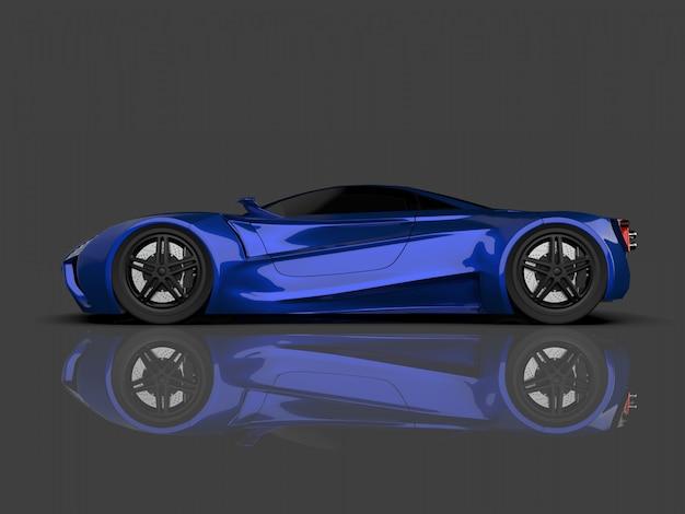 Voiture de concept de course bleue image de voiture sur gris brillant Photo Premium
