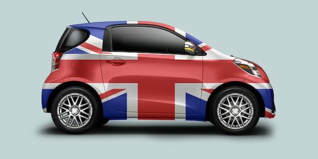 Voiture drapeau britannique Photo Premium