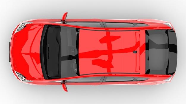Voiture familiale hybride moderne rouge sur fond blanc avec une ombre au sol Photo Premium