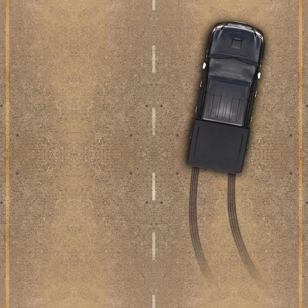 Voiture sur la route, traces de pneus sur la route Photo Premium