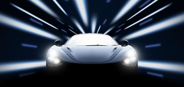 Voiture de sport noire haute vitesse dans la nuit Photo Premium